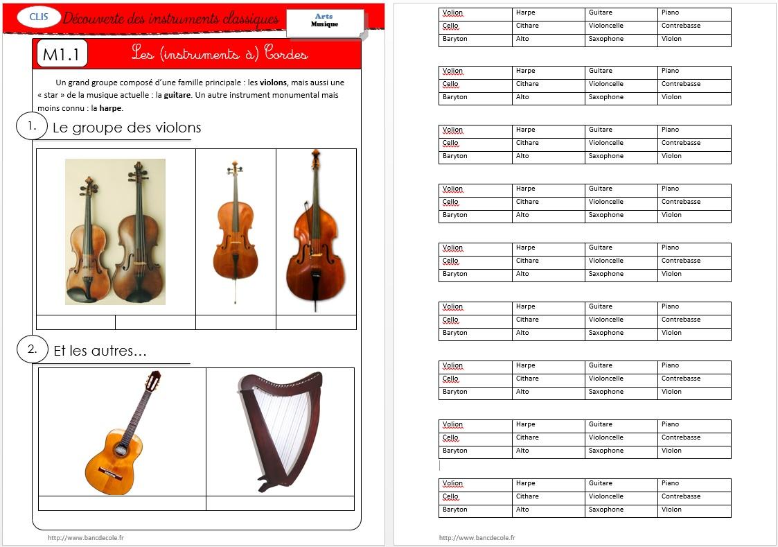 Favori Musique] Découvrir les instruments (classiques) - Bancs d'Ecole OR86