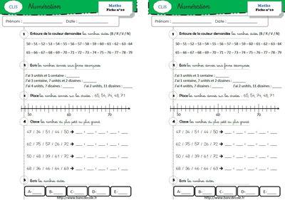 Exercices de numération (niveau GS-CP-CE1) - Bancs d'Ecole