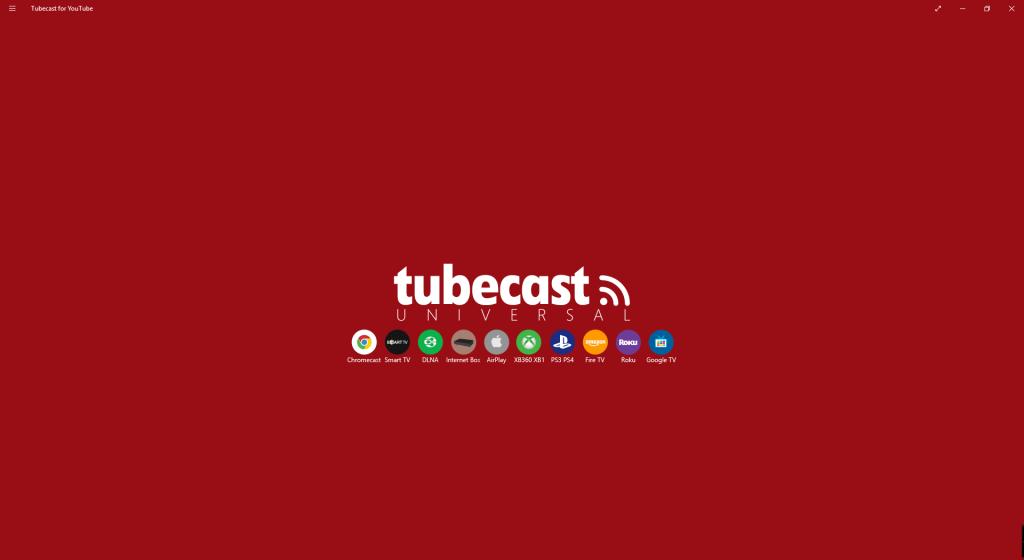 Ecran de démarrage de TubeCast