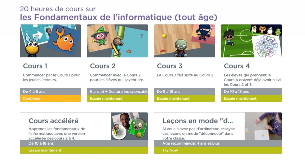 Capture présentant les cours proposés sur code.org