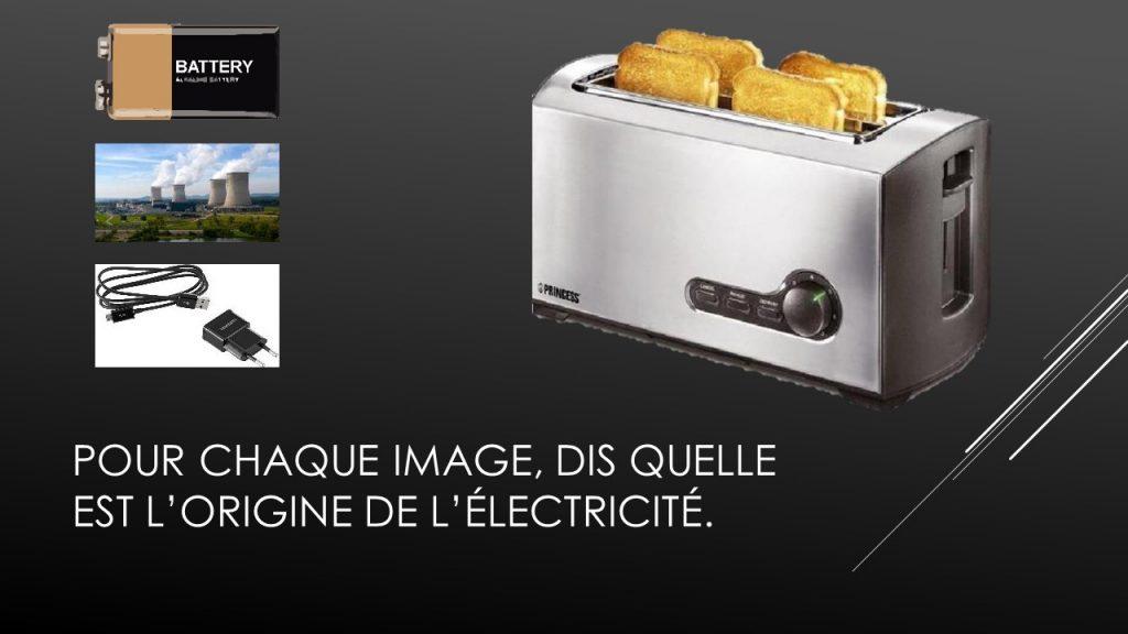 Illustration de la partie sur la recherche de l'oirigine de l'électricité utilisée par un appareil